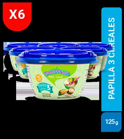 Papilla Tres cereales BabyFruit 125g sixpack